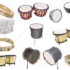 Different kinds of percussion instruments isolated under the white background